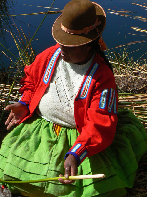 Uros-Island-lady-sitting