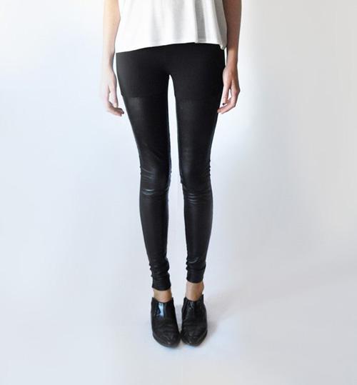 02 LeilanniLand Black Leather Panel Leggings