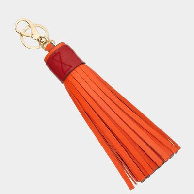 Tassel-keyring-orange-velvet-calf-with-red-trim