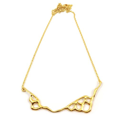 Scale-current-necklace-gold