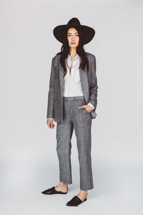 Le-Fashion-Blog-Jenni-Kayne-Resort-2016-Oversized-Black-Hat-Striped-Button-Down-Grey-Wool-Suit-Mule-Flats-Via-Style-Com
