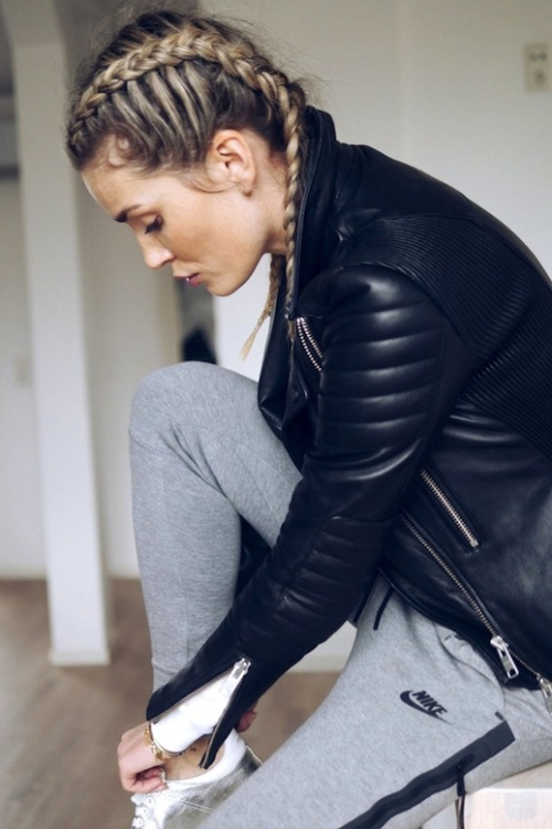 Le-Fashion-Blog-Workout-Style-Double-Braids-Leather-Jacket-Grey-Nike-Sweatpants-White-Sneakers-Via-Camilla-Phil